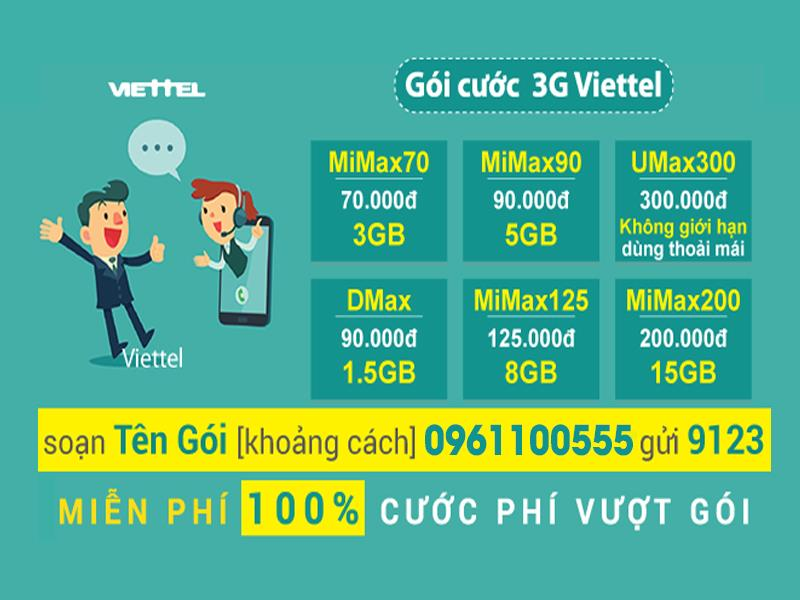 3G packages Viettel free package 100% charge incurred super deals